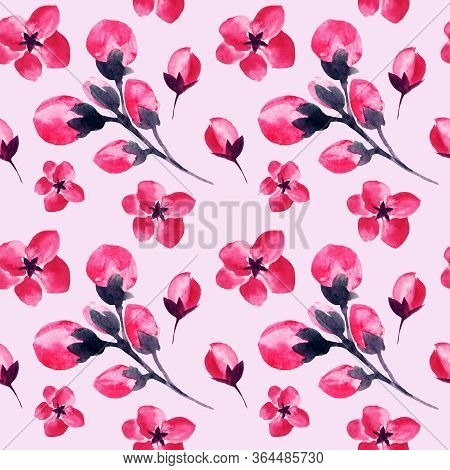 Pink Sakura Flowers Pattern Background, Watercolor Floral Blossom Petals And Buds Seamless Decoratio