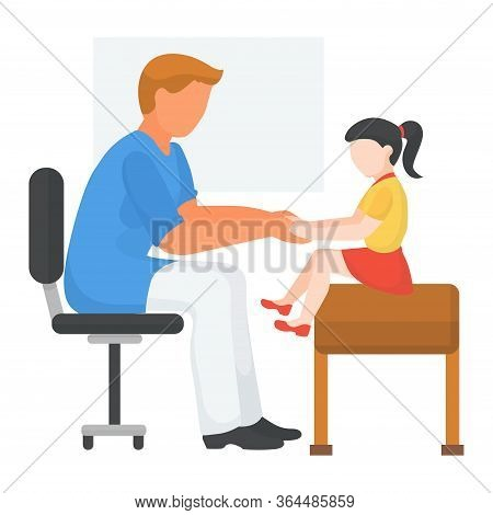 Doctor With Child At Hospital, Health Medical Examination, Vector Illustration. Kid At Physician App