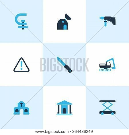 Industrial Icons Colored Set With Chuck, Drill, Digger Vehicle And Other Museum Elements. Isolated V