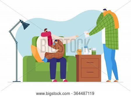 Flu Sick Character At Family Home, Vector Illustration. Man Care About Ill Child With Cold, Healthca