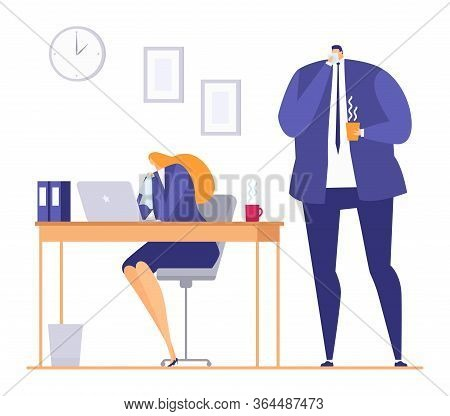 Sick Person In Office During Seasonal Flu Cold, Vector Illustration. Ill Woman At Work, Fever Diseas