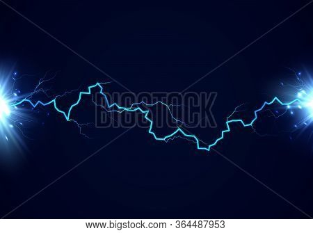 Lightning And Flash. Thunderbolt Effect. Bright Power Electrical Strike. Vector Illustration Isolate