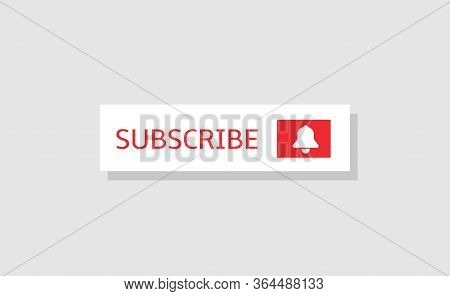 Subscribe Banner Template. White Subscribe Button With Bell Icon Isolated