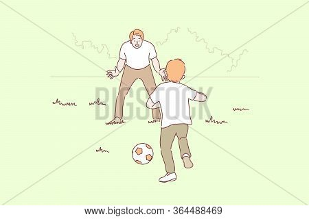 Sport, Football, Family, Fatherhood, Childhood Concept. Cartoon Characters Young Man Father Playing