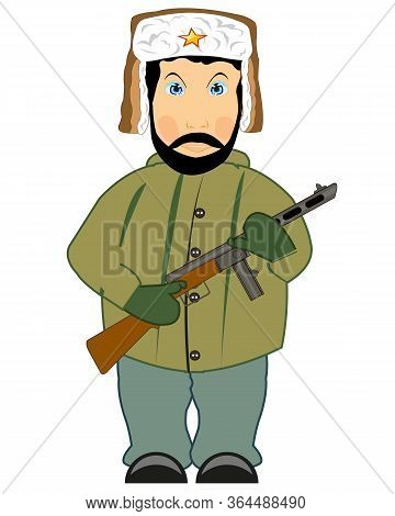Vector Illustration Of The Soldier Of The Great Domestic War