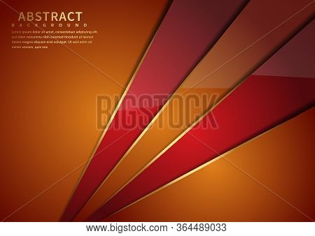Abstract Orange And Red Triangle Diagonal Geometric Overlapping With Lighting On Orange Background.