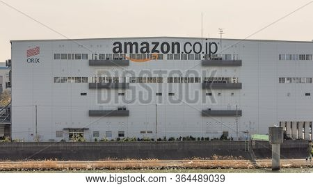 Sakai, Osaka / Japan - March 23rd 2018: Huge Building Of Amazon Japan Sakai Fc, Largest Amazon Distr