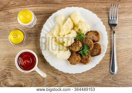 Pepper And Salt, Ketchup In Small Sauceboat, White Glass Plate With Boiled Cauliflower, Small Chicke