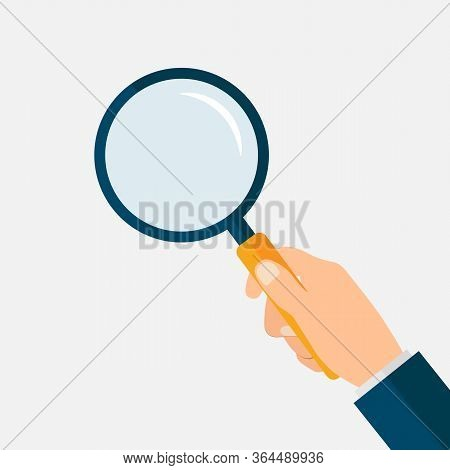 Hand With Magnifying Glass. Loupe In Hand. Searching Symbol. Vector Eps 10