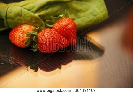 A Strawberry Set For Breakfast Or Snack