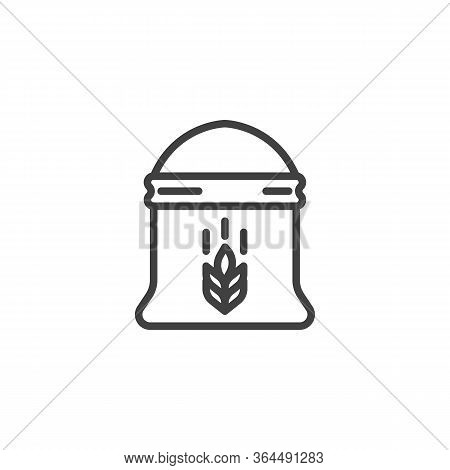 Bag Of Wheat Flour Line Icon. Linear Style Sign For Mobile Concept And Web Design. Sack Of Flour Out