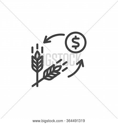 Ears Of Wheat And Money Line Icon. Linear Style Sign For Mobile Concept And Web Design. Grain Price