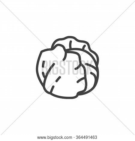 Fresh Cabbage Line Icon. Linear Style Sign For Mobile Concept And Web Design. Cabbage Leaves Outline