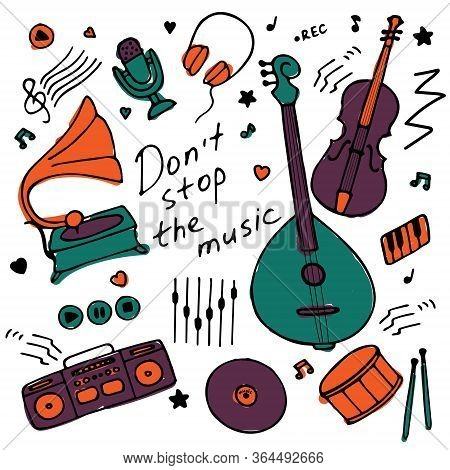 Collection Of Hand-drawn Icons. Musical Theme. Icons Of Musical Instruments. Hand-written Inscriptio