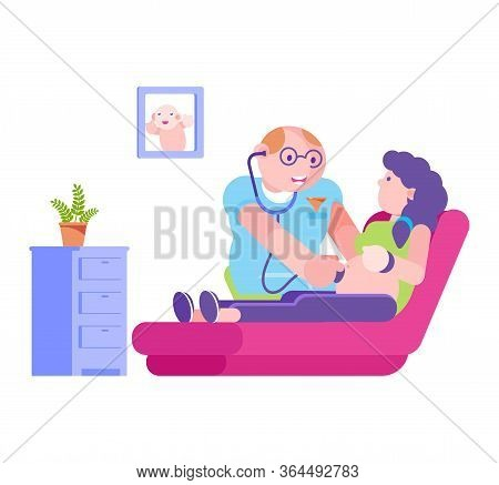 Doctor With Stethoscope Listen To Pregnant Woman Abdomen, Vector Illustration. Pregnancy Health Care