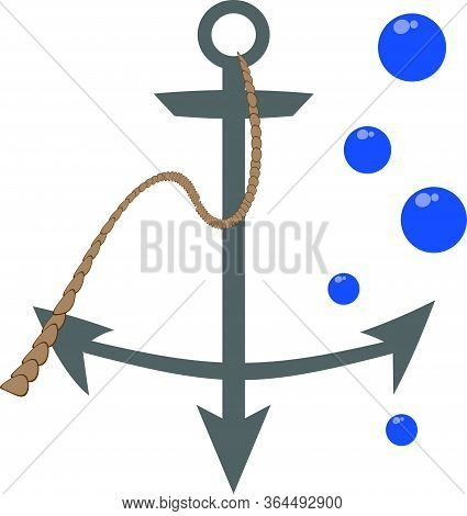 Nautical Symbol. Gray Metal Anchor With A Wavy Rope And A Few Blue Bubbles.