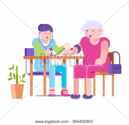 Doctor Messure Elderly Patient Blood Pressure In Hospital, Vector Illustration. Cartoon Old People H