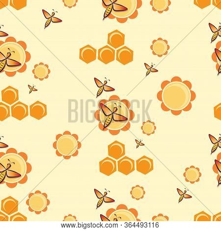 Swarm Bees. Flowers, Honeycombs. Bee Pattern, Background. Flying Bee.