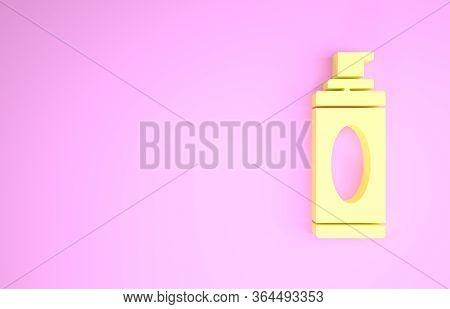 Yellow Shaving Gel Foam Icon Isolated On Pink Background. Shaving Cream. Minimalism Concept. 3d Illu