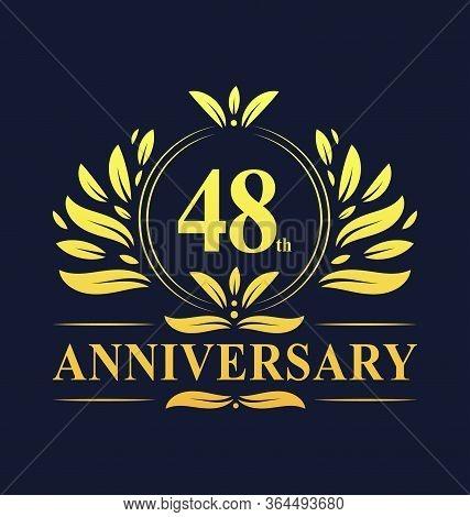 48th Anniversary Design, Luxurious Golden Color 48 Years Anniversary Logo Design Celebration.