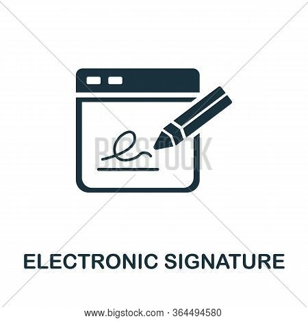 Electronic Signature Icon. Simple Illustration From Fintech Industry Collection. Creative Electronic