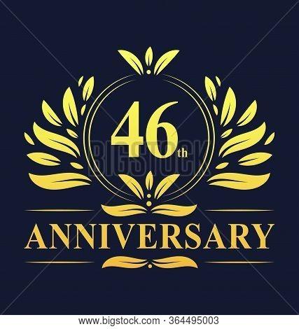 46th Anniversary Design, Luxurious Golden Color 46 Years Anniversary Logo Design Celebration.