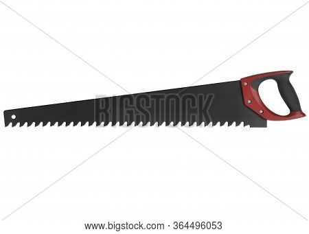 Aerated Concrete Saw With Red Handle Isolated On White Background