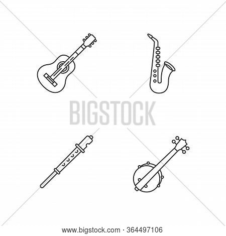 Orchestral Musical Instruments Pixel Perfect Linear Icons Set. Acoustic Guitar. Banjo For Country Mu
