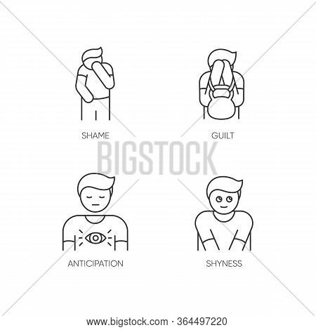 Human Behaviour Pixel Perfect Linear Icons Set. Feeling Of Shame. Social Emotion Of Guilt. Customiza