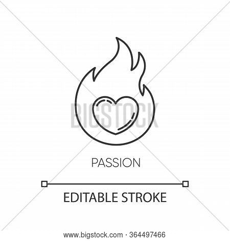 Passion Pixel Perfect Linear Icon. Intense Positive Emotion. Affection And Lust. Sexual Drive. Thin