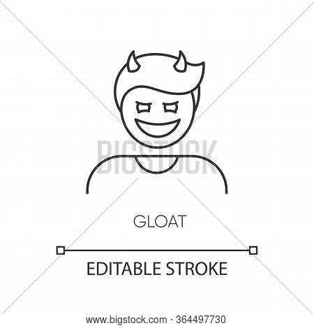 Gloat Pixel Perfect Linear Icon. Evil Smile. Bad Attitude. Vicious Smirk. Scary Person. Thin Line Cu