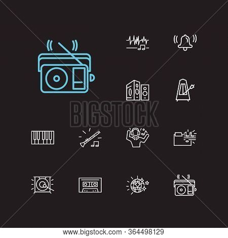 Melody Icons Set. Music Folder And Melody Icons With Loudspeaker, Sound Wave And Man Listing Music.