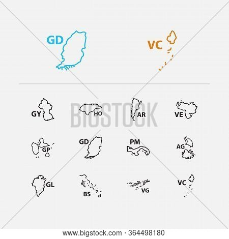 American Map Icons Set. Argentina And American Map Icons With Guyana, British Virgin Islands, Guadel