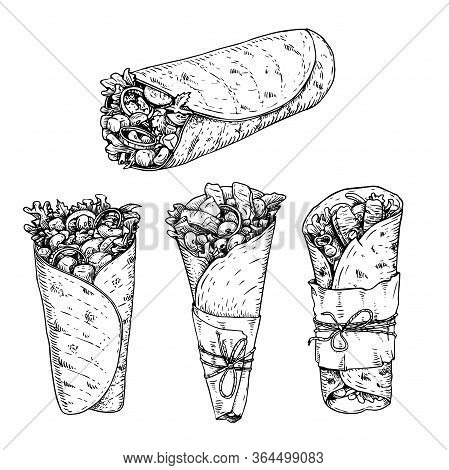 Burritos Set. Hand Drawn Sketch Style Vector Illustrations Of Traditional Mexican Fast Food. Best Fo