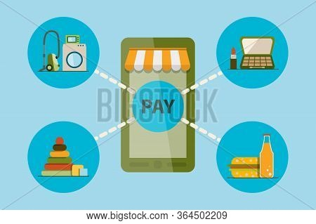 Distant Product Order Concept. Mobile E-marketing, E-comerce, App Store. Stock Vector Illustration I