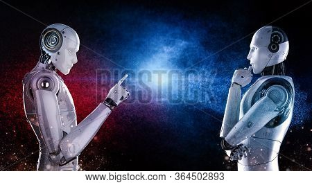 Technology Confrontation Concept With 3d Rendering Cyborg Confront In Red And Blue Side