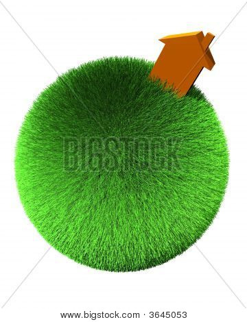 orange house on sphere of grass on white background poster