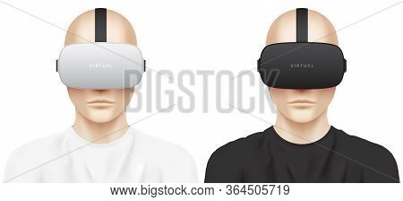 Guy Wearing A Vr Headset. Set Of Young White Men, Dressed In White And Black T-shirts, Heaving Virtu