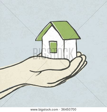 Green house in hands. Concept illustration, vector, EPS10