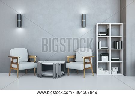 Modern Office Waiting Room With Concrete Walls, Two Armchairs And Bookcase With Folders. Workplace A