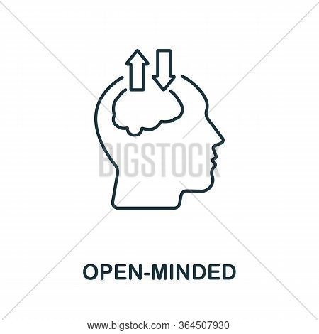 Open-minded Icon From Personality Collection. Simple Line Open-minded Icon For Templates, Web Design