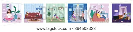 Set Banner Stays At Home. Woman Character Practicing Yoga, Man Listens To Music. Young Couple Drink