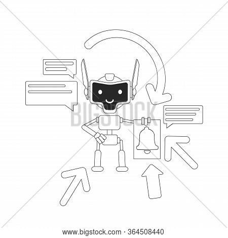 Aggregator Bot Thin Line Concept Vector Illustration. Automated Newsletter. Mails And News Sending R