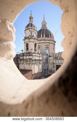 Catanias Cathedral Of Santagata In The City Centre Of The Sicilian Town, Italy. Seen From The Terrac
