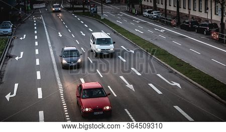 Freiburg Im Breisgau, Germany - December 31, 2017: Car Traffic On A Large City Boulevard On A Winter