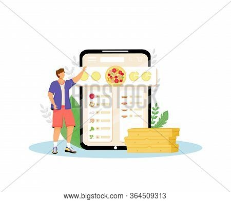 Pizza Constructor, Fast Food Online Ordering Flat Concept Vector Illustration. Customer, Man Choosin