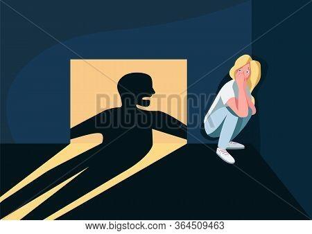 Domestic Violence Victim Flat Color Vector Illustration. Frightened Woman Hiding In Corner 2d Cartoo