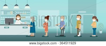Pharmacy With Pharmacist And Customer Vector Illustration