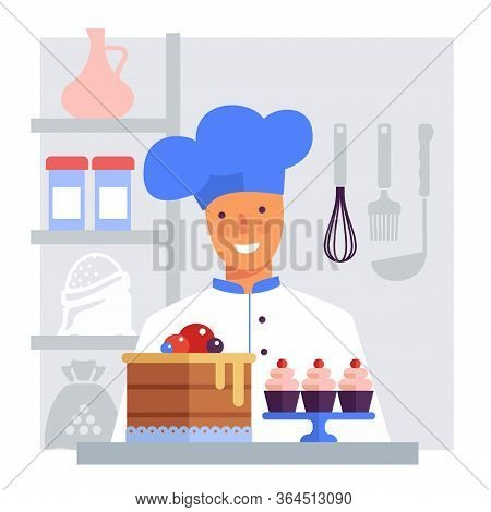 Pastry Chef With Cake And Cakes. Flat Vector Stylized Image