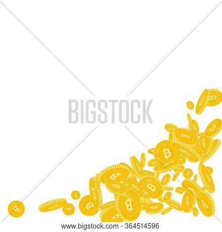 Bitcoin, Internet Currency Coins Falling. Scattered Floating Btc Coins On White Background. Ravishin